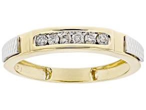 White Diamond 10k Two-Tone Gold Mens Band Ring 0.20ctw