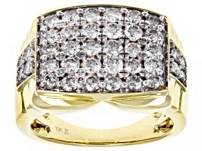White Diamond 10k Yellow Gold Mens Cluster Ring 2.00ctw