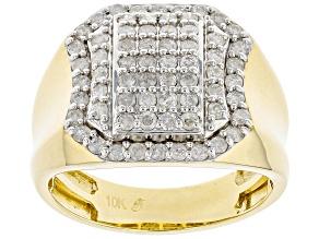 White Diamond 10k Yellow Gold Men's Cluster Ring 1.00ctw