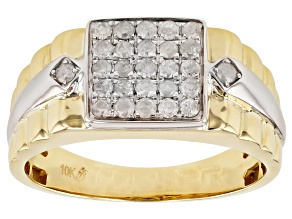 White Diamond 10k Two-Tone Gold Men's Cluster Band Ring 0.50ctw