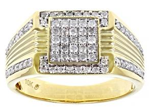 White Diamond 10k Yellow Gold Men's Diamond Cluster Band Ring 0.70ctw