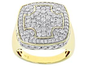 White Diamond 10K Yellow Gold Mens Cluster Ring 1.50ctw