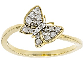 White Diamond 10K Yellow Gold Ring 0.15ctw