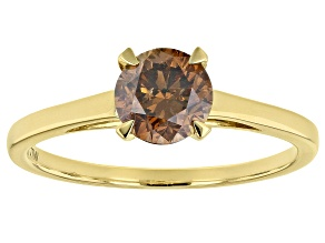 Champagne Diamond 10K Yellow Gold Ring 1.00ctw