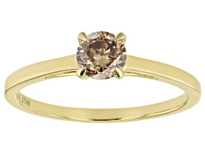 Champagne Diamond 10K Yellow Gold Ring 0.50ctw