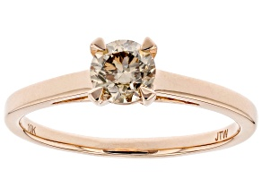 Champagne Diamond 10K Rose Gold Ring 0.50ctw