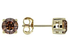 Champagne Diamond 10K Yellow Gold Earrings 1.00ctw