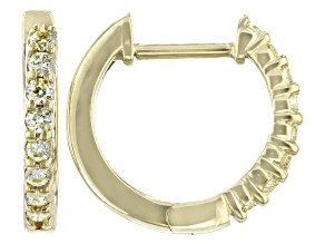 Natural Yellow Diamond 10K Yellow Gold Hoop Earrings 0.20ctw