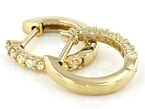 Natural Light Yellow Diamond 10K Yellow Gold Hoop Earrings 0.20ctw