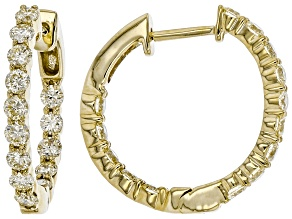 Natural Yellow Diamond 10k Yellow Gold Inside-Out Hoop Earrings 1.00ctw