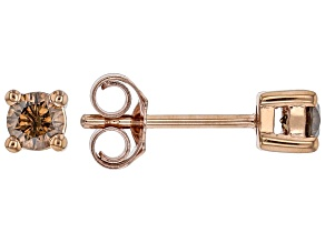 Champagne Diamond 10K Rose Gold Stud Earrings 0.33ctw