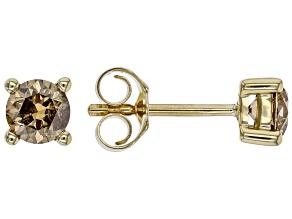 Champagne Diamond 10K Yellow Gold Stud Earrings 0.75ctw
