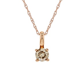 Champagne Diamond 10K Rose Gold Solitaire Pendant With Rope Chain 0.25ctw