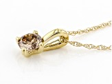 Champagne Diamond 10K Yellow Gold Solitaire Pendant With Rope Chain 0.25ctw