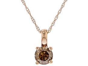 Champagne Diamond 10K Rose Gold Solitaire Pendant With Rope Chain 0.50ctw