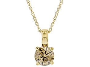 Champagne Diamond 10K Yellow Gold Solitaire Pendant With Rope Chain 0.50ctw