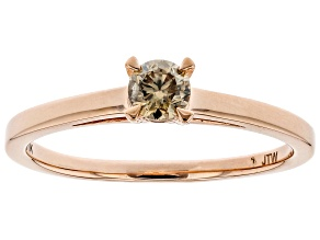 Champagne Diamond 10K Rose Gold Solitaire Ring 0.25ctw