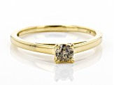 Champagne Diamond 10K Yellow Gold Solitaire Ring 0.25ctw