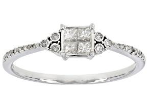 White Diamond 10k White Gold Promise Ring 0.25ctw