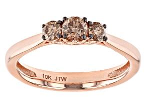 Champagne Diamond 10k Rose Gold 3-Stone Engagement Ring 0.50ctw