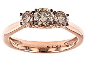 Champagne Diamond 10k Rose Gold 3-Stone Engagement Ring 1.00ctw