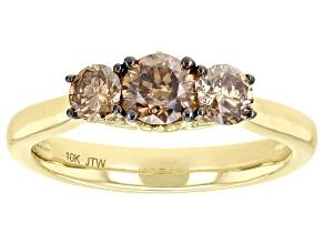 Champagne Diamond 10k Yellow Gold 3-Stone Engagement Ring 1.00ctw