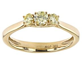 Natural Yellow Diamond 10k Yellow Gold 3-Stone Engagement Ring 0.50ctw