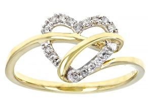 White Diamond 10K Yellow Gold Open Design Heart Ring 0.10ctw