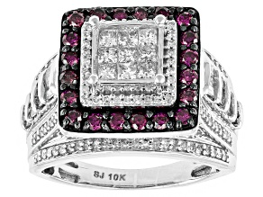 Purple And White Diamond 10k White Gold Ring 1.50ctw