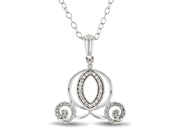 Picture of Enchanted Disney Cinderella Carriage Pendant Diamond And London Blue Topaz 10K White Gold 0.45ctw