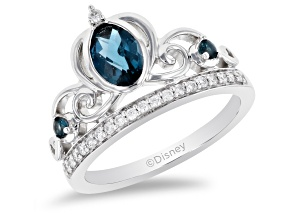 Enchanted Disney Cinderella Tiara Ring London Blue Topaz And Diamond Rhodium Over Silver 1.07ctw