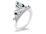 Enchanted Disney Cinderella Tiara Ring London Blue Topaz And Diamond Rhodium Over Silver 1.07ctw