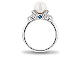 Enchanted Disney Cinderella Ring Cultured Freshwater Pearl/Diamond/Topaz Rhodium Over Silver 1.03ctw