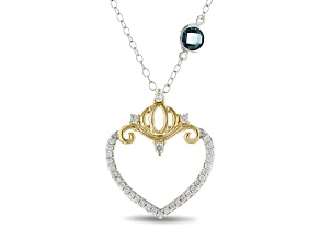 Enchanted Disney Cinderella Pendant Diamond/London Blue Topaz Rhodium Over Silver/10k Gold .70ctw