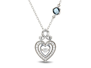 Enchanted Disney Cinderella Heart Pendant Diamond And London Blue Topaz Rhodium Over Silver 0.55ctw
