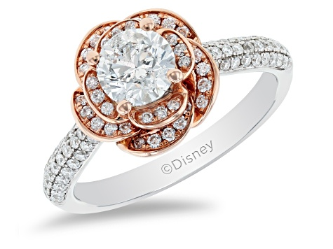 Enchanted Disney Belle Rose Engagement Ring White Diamond 14K White And Rose Gold 1.25ctw