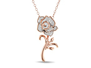 Enchanted Disney Belle Rose Pendant With Chain White Diamond 10K Rose Gold 0.10ctw