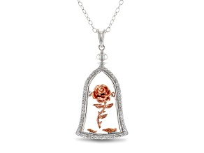 Enchanted Disney Belle Rose Pendant With Chain Diamond Rhodium Over Silver And 10K Rose Gold 0.20ctw