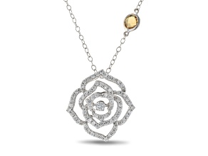 Enchanted Disney Belle Rose Pendant With Chain Diamond And Citrine 14K White Gold 0.75ctw