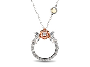 Enchanted Disney Belle Rose Pendant With Chain Diamond And Citrine 14K White And Rose Gold 0.46ctw