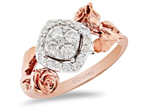 Enchanted Disney Belle Rose Ring White Diamond 10K White And Rose Gold 0.50ctw