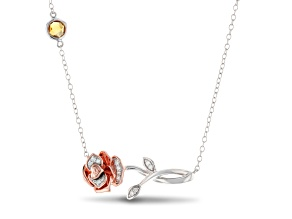 Enchanted Disney Belle Rose Necklace Diamond & Citrine Rhodium Over Silver & 10K Rose Gold 0.34ctw