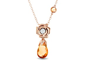 Enchanted Disney Belle Rose Pendant With Chain Citrine And Diamond 14K Rose Gold 3.61ctw
