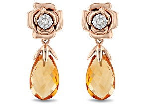 Enchanted Disney Belle Rose Earrings Yellow Citrine And White Diamond 14K Rose Gold 2.63ctw