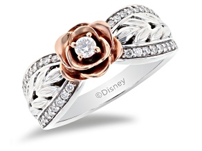 Enchanted Disney Belle Rose Ring White Diamond Rhodium Over Silver And 10K Rose Gold 0.25ctw
