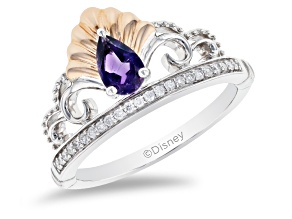 Enchanted Disney Ariel Tiara Ring Amethyst And Diamond Rhodium Over Silver And 10K Rose Gold 0.48ctw