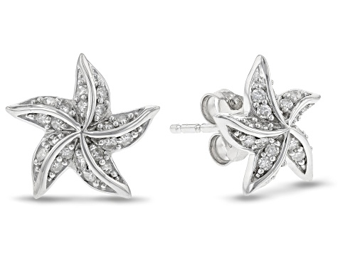 Enchanted Disney Ariel Starfish Earrings White Diamond Rhodium Over Silver 0.20ctw