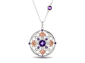 Enchanted Disney Ariel Seashell Pendant Amethyst & Diamond Rhodium Over Silver & 10K Gold 1.40ctw