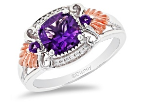 Enchanted Disney Ariel Seashell Ring Amethyst & Diamond Rhodium & 14K Rose Gold Over Silver 1.50ctw