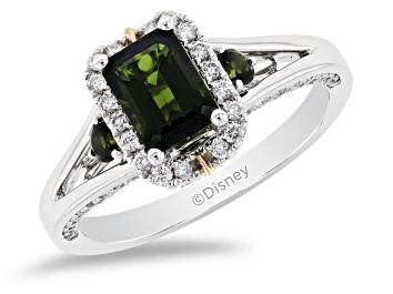Picture of Enchanted Disney Tinker Bell Engagement Ring Tourmaline & Diamond 14K White Gold 0.84ctw